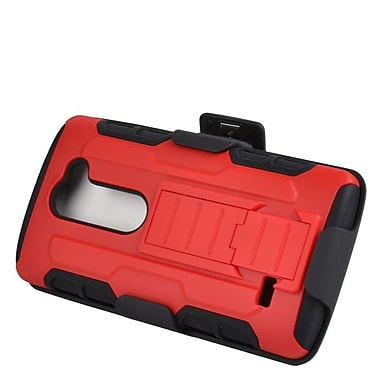 Insten Hard Dual Layer Silicone Case with Holster For LG Leon/Destiny/Power/Tribute 2 - Red/Black