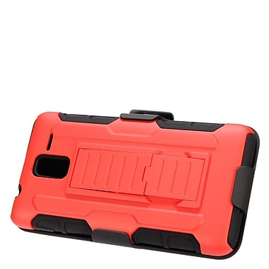 Insten Car Armor Hard Hybrid Plastic Silicone Stand Case with Holster For Kyocera Hydro View - Red/Black