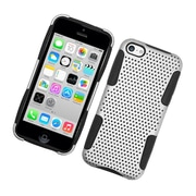 Insten TPU Rubber Hard PC Candy Skin Mesh Case Cover For Apple iPhone 5C - White/Black