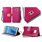 Insten Book-Style Leather Glitter Case Lanyard w/stand/Diamond For Samsung Galaxy S7 - Hot Pink/Gold
