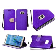 Insten Book-Style Leather Glitter Case Lanyard w/stand/Diamond For Samsung Galaxy S7 - Purple/Gold