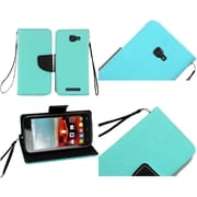 Insten Book-Style Leather Fabric Cover Case Lanyard w/stand/card holder For Alcatel One Touch Fierce 2 7040T - Teal