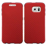 Insten Leather Hybrid Rugged Shockproof Fabric Hard Case For Samsung Galaxy S6 - Red