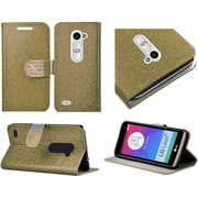 Insten Flip Leather Glitter Cover Case w/stand/card slot/Diamond For LG Leon - Gold