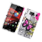 Insten Butterfly Hard Rubber Case For Motorola Droid Razr Maxx HD - White/Pink
