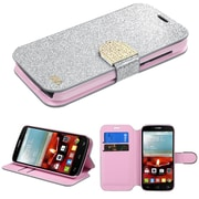 Insten Book-Style Leather Glitter Case w/stand/card slot/Diamond For Alcatel One Touch Fierce 2 7040T - Silver/Gold