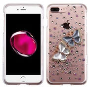 Insten Butterfly Lovers Hard 3D Crystal Cover Case w/Diamond For Apple iPhone 7 Plus - Clear/Blue