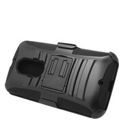 Insten Hard Hybrid Plastic Silicone Stand Case with Holster For Motorola Moto X (2nd Gen) - Black