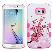 Insten Tuff Spring Flowers Hard Dual Layer Rubberized Silicone Cover Case For Samsung Galaxy S6 Edge - Pink/White