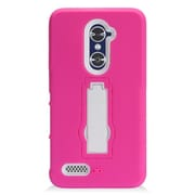Insten Symbiosis Armor Hybrid Hard Stand Shockproof Case Back Cover For ZTE Zmax Pro - Hot Pink/White