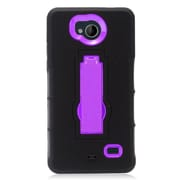 Insten Symbiosis Hybrid Hard Silicone Amor Shockproof Stand Case For ZTE Tempo - Black/Purple