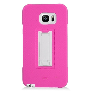 Insten Symbiosis Hard Dual Layer Silicone Case w/stand For Samsung Galaxy Note 5 - Hot Pink/White