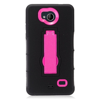 Insten Symbiosis Hybrid Hard Silicone Amor Shockproof Stand Case For ZTE Tempo - Black/Hot Pink