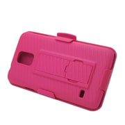 Insten Hard Hybrid Plastic Silicone Cover Case w/stand/Holster For Samsung Galaxy S5 - Hot Pink