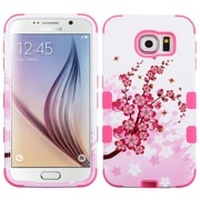 Insten Tuff Spring Flowers Hard Hybrid Silicone Cover Case For Samsung Galaxy S6 - Pink/White