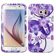 Insten Tuff Hibiscus Flower Romance Hard Dual Layer Silicone Case For Samsung Galaxy S6 - Purple/White