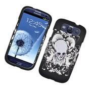 Insten Skull Hard Rubber Case For Samsung Galaxy S3 - Black/White