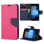 Insten Diary Leather Wallet Flip Card Pocket Stand Case Cover For Microsoft Lumia 650 - Hot Pink/Blue