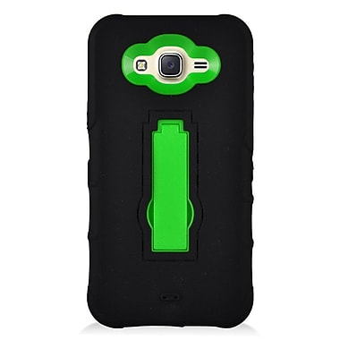 Insten Symbiosis Armor Hybrid Hard Stand Shockproof Case Back Cover For Samsung Galaxy J7 (2016) - Black/Green