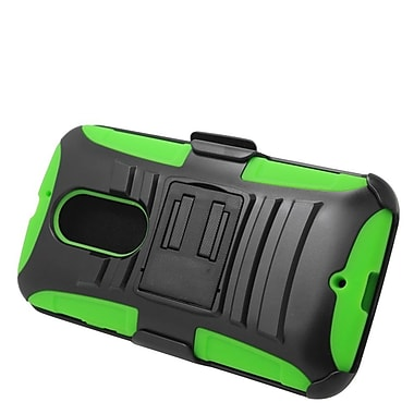 Insten Stand Dual Layer Hybrid Case with Holster For Motorola Moto X (2nd Gen) - Black/Green