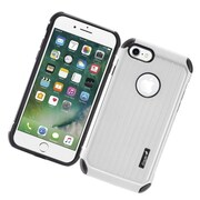 Insten Carry On Hybrid Dual Layer Rubberized Hard Silicone Protective Case Cover For Apple iPhone 7 - Silver/Black
