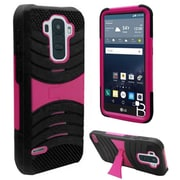 Insten Gel Hybrid Rugged Shockproof Rubber Hard Cover Case with Stand For LG G Stylo - Black/Hot Pink