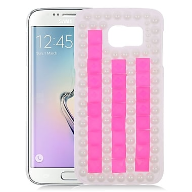 Insten Checker Hard Diamond Case For Samsung Galaxy S6 Edge - Hot Pink/White