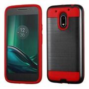 Insten Hard Hybrid TPU Cover Case For Motorola Moto G4 Play - Black/Red