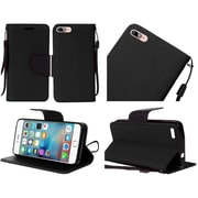 Insten Flip Leather Fabric Case Lanyard w/stand For Apple iPhone 7 - Black