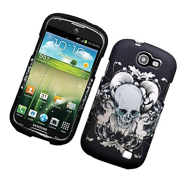 Insten Skull Hard Rubber Coated Case For Samsung Galaxy Express SGH-i437 - Black/White
