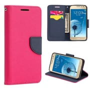 Insten Diary Leather Wallet Flip Card Pocket Stand Case Cover For Samsung Galaxy J2 - Hot Pink/Navy Blue
