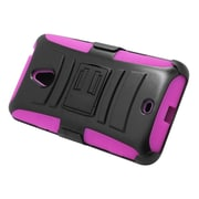 Insten Hard Hybrid Plastic Silicone Stand Case with Holster For Nokia Lumia 1320 - Black/Hot Pink