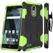 Insten SuperCoil Hybrid Premium Dual Layer Kickstand Holster Case For LG Stylo 3 / Stylo 3 Plus - Black/Neon Green