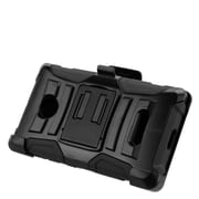 Insten Stand Dual Layer Hybrid Case with Holster For Microsoft Lumia 435 - Black