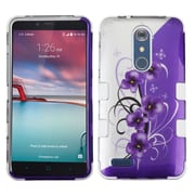 Insten Twilight Petunias/Solid White TUFF Hybrid Case For ZTE Grand X Max 2/Imperial Max/Kirk/Max Duo 4G/Zmax Pro