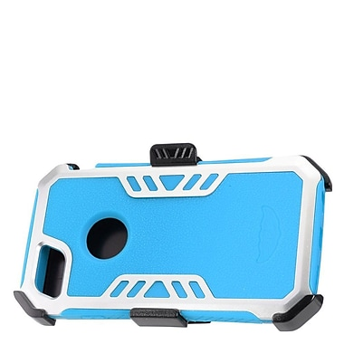 Insten Hybrid Hard Silicone Dual Layer Protective Case Cover + Holster Clip For Apple iPhone 7 - Blue/Silver