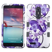 Insten Hibiscus Flower/Iron Gray TUFF Hybrid Case For ZTE Grand X Max 2 / Imperial Max / Kirk / Max Duo 4G / Zmax Pro