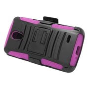 Insten Stand Dual Layer Hybrid Case with Holster For LG Lucid 3 - Black/Hot Pink