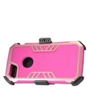 Insten Hybrid Hard Silicone Dual Layer Protective Case Cover + Holster Clip For Apple iPhone 7 - Hot Pink/Rose Gold