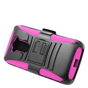 Insten Hard Hybrid Plastic Silicone Stand Case with Holster For Motorola Droid Turbo - Black/Hot Pink