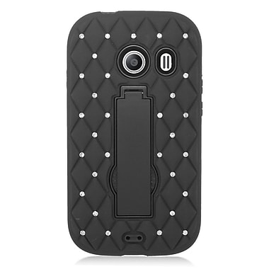 Insten Symbiosis Hard Hybrid Rubber Coated Silicone Case w/stand/Diamond For Samsung Galaxy Ace Style - Black