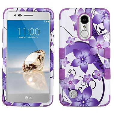 Insten Tuff Hibiscus Flower Romance Hard Dual Layer Rubber Coated Silicone Cover Case For LG Aristo / LV3 - Purple/White