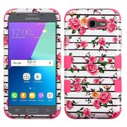Insten Pink Fresh Roses/Electric Pink TUFF Hybrid Case [Military-Grade] For Samsung Galaxy Express Prime 2 / J3 (2017)