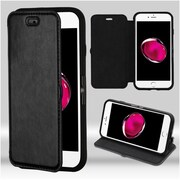 Insten Flip Leather Fabric Cover Case w/stand For Apple iPhone 7 Plus - Black