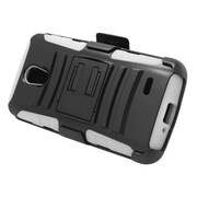 Insten Hard Dual Layer Plastic Silicone Stand Case with Holster For LG Lucid 3 - Black/White