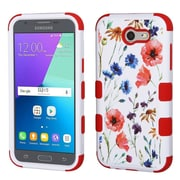Insten Watercolor Flowers/Red TUFF Hybrid Case [Military-Grade Certified] For Samsung Galaxy Express Prime 2 / J3 (2017)