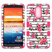 Insten Tuff Fresh Roses Hard Dual Layer Rubberized Silicone Cover Case For LG Aristo / LV3 - Pink/White