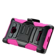 Insten Hard Hybrid Plastic Silicone Stand Case with Holster For Microsoft Lumia 435 - Black/Hot Pink