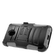 Insten Stand Dual Layer Hybrid Case with Holster For Motorola Moto G(3rd Gen) - Black/Gray
