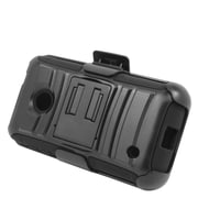 Insten Hard Hybrid Plastic Silicone Stand Case with Holster For Nokia Lumia 530 - Black